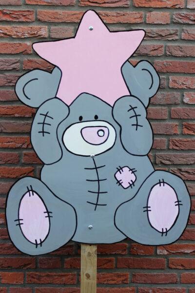 Geboortebord beer met ster roze
