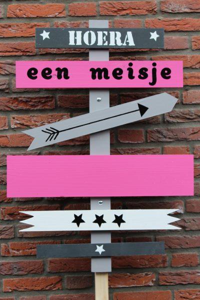 Geboortebord Pijlen roze