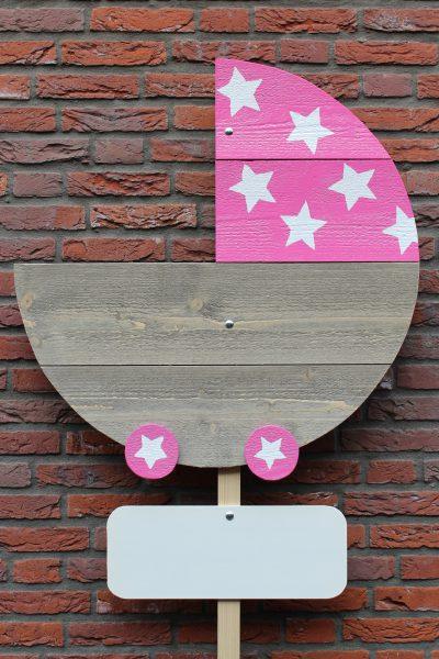 Geboortebord Kinderwagen roze