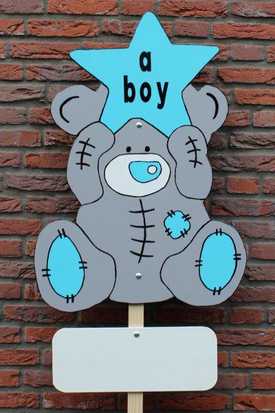 Geboortebord beer met ster blauw