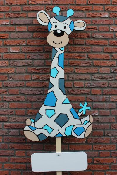 Geboortebord Giraf blauw