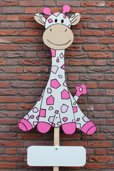 Geboortebord roze giraf voor een meisje huren